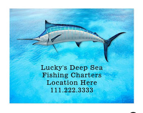 Blue marlin fishing guide / business advertising postcard