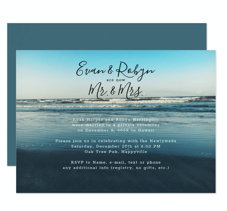Mr. and Mrs. marriage announcement dark blue ocean background seacoast private ceremony reception only invitation wording