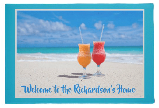 Doormat tropical drinks on sand welcome home family name custom text