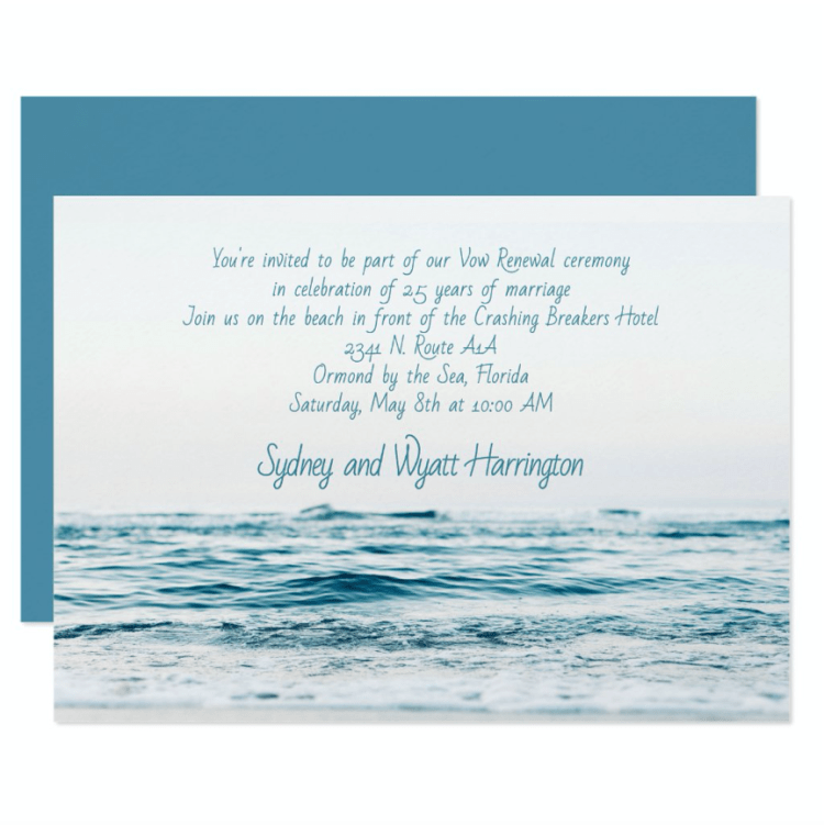 Blue sea water white invitation renewing vows wedding anniversary by the ocean
