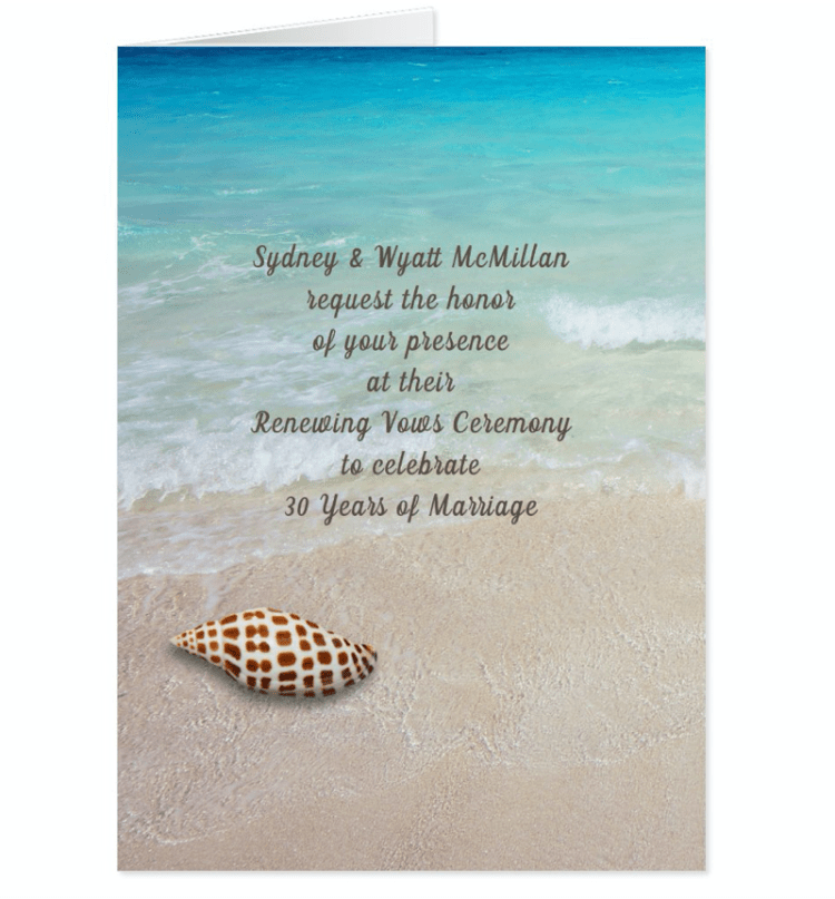 Junonia seashell and beach scene invitation to a vow renewal ceremony, folded cards