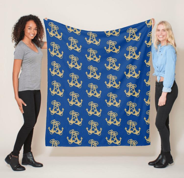 Gold anchors fleece blanket navy blue pattern nautical home decor