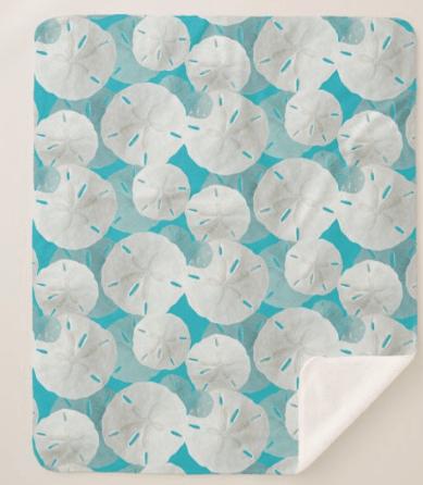 Sand dollars sherpa blanket seashell pattern aqua blue