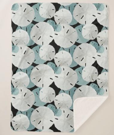 Sand dollars sherpa blanket seashell pattern navy blue large size coastal theme