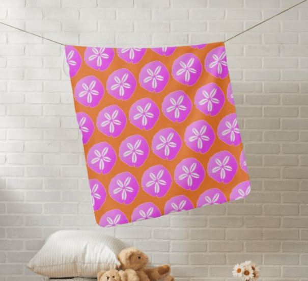Pink and orange baby blanket with sand dollar pattern design girl daughter