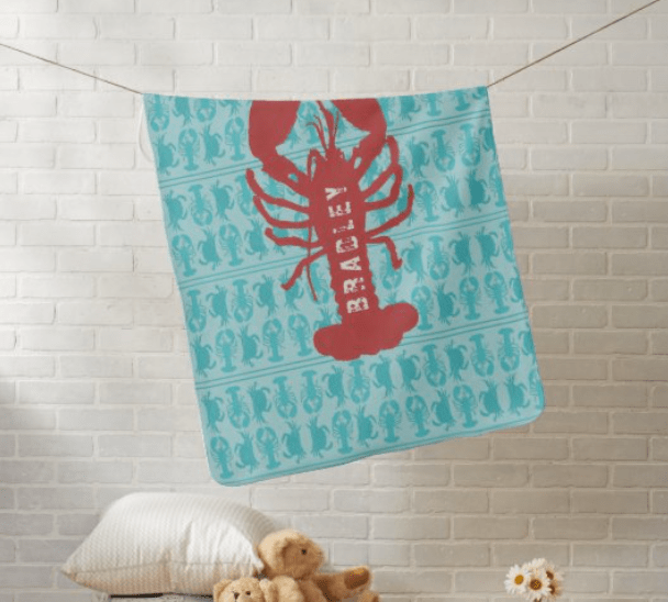 Lobster baby blanket name template blue red seafood son pattern boy gift personalized