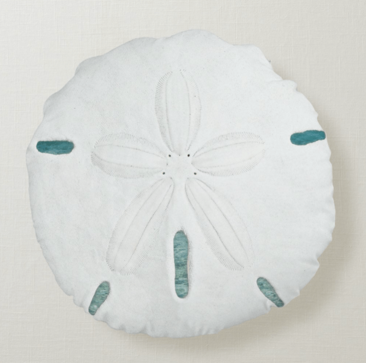 White on blue sand dollar pillow water background decorative beach shells