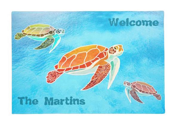 Sea turtles welcome doormat tropical water sea life family name