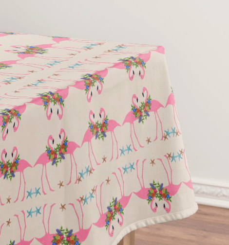 Pink flamingos tablecloth tropical fun dining table decor pattern