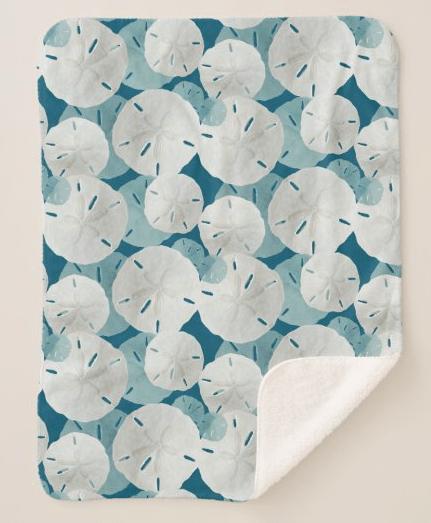 Sand dollars sherpa blanket seashell pattern navy blue