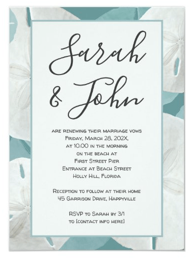 Sand dollar frame modern big names invitation to vow renewal ceremony for couples anniversary sea blue