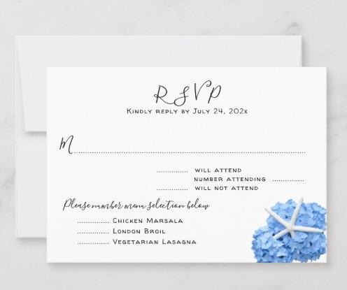 Starfish blue hydrangea reply enclosure cards white number of guests three entrees meals menu list