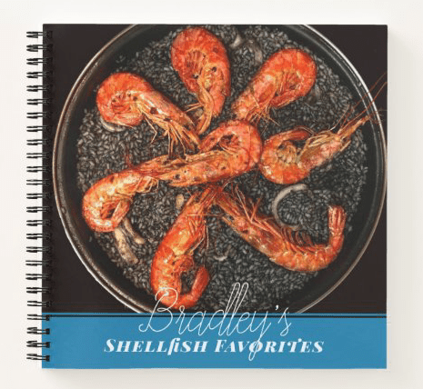 Small personal cookbook chefs favorites name front text templates spiral bound recipe pages shrimp seafood blue