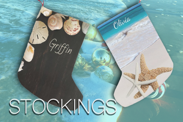 Coastal Christmas stockings with name templates double sided beaches seashells tropical warm climate kids adults