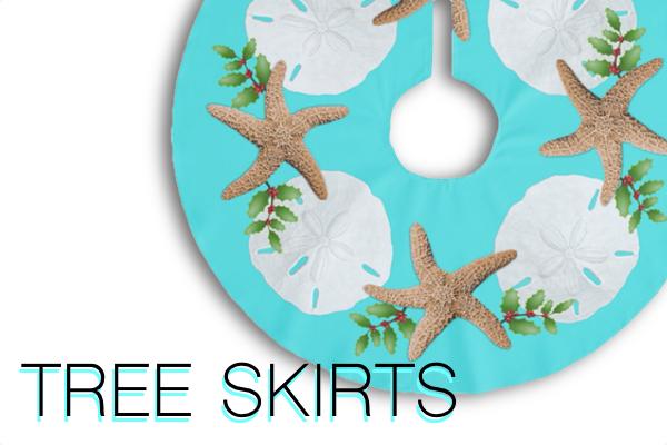 coastal Christmas tree skirts sand dollars seashells starfish sea stars tropical flamingos text