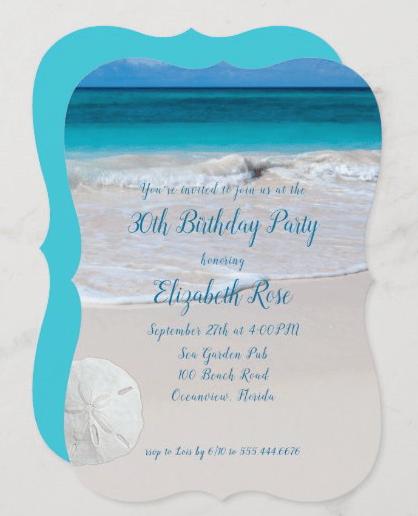 Birthday party invitation template beach theme