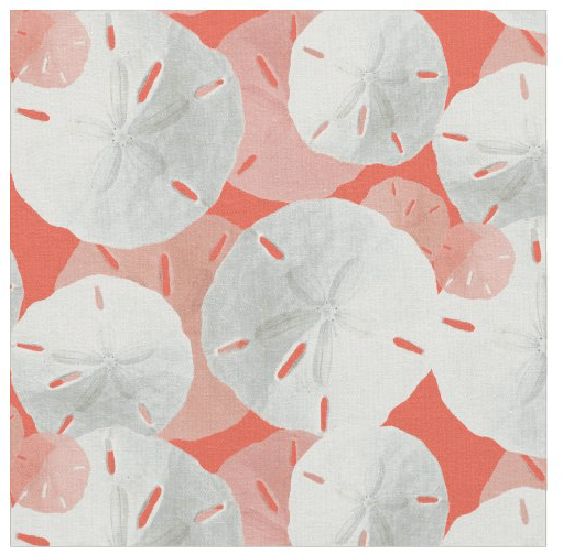 Coral orange sand dollar pattern fabric crafts decorating sewing seashells beach theme tropical