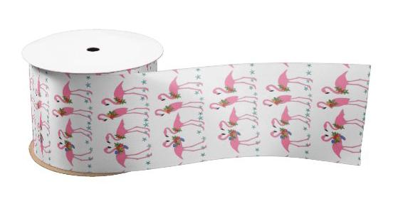 Flamingo ribbon, wide 3 inch pattern tropical birds pink white bow making decorating fun