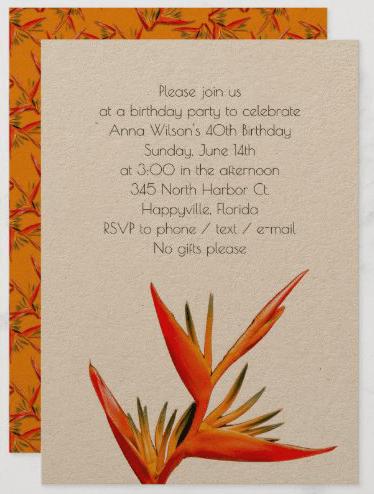 Orange bird-of-paradise birthday Hawaiian theme party tropical flowers kraft paper paragraph text template woman women female