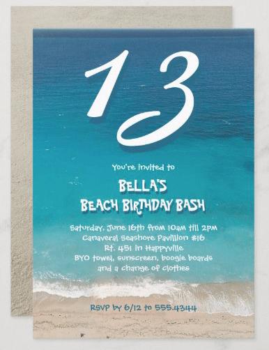 Teen beach party invitation age top blue ocean water sea sand fun font teenager outdoor seaside summer birthday