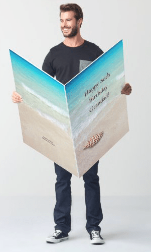 Beach scene oversize folded greeting card junonia seashell all occasion happy birthday from all group specialty fun custom text