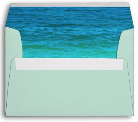 Light sea green A7 envelope return address flap sea water blue ocean tropical party mailing
