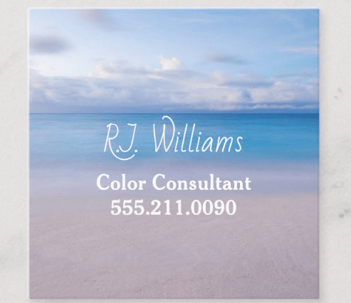 Square business card with beach background