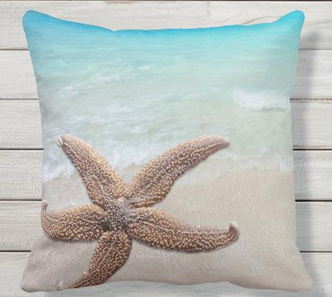 starfish sea star beach scene throw pillow square tropical water sea sand coastal decor