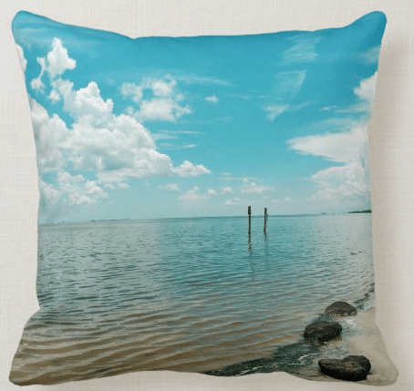 Mosquito lagoon florida waterway lake saltwater photography pillow blue sky clouds