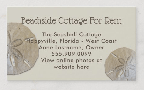Sand dollar business card with photo template on back
