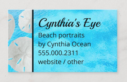 Bright blue sand dollars profession business cards