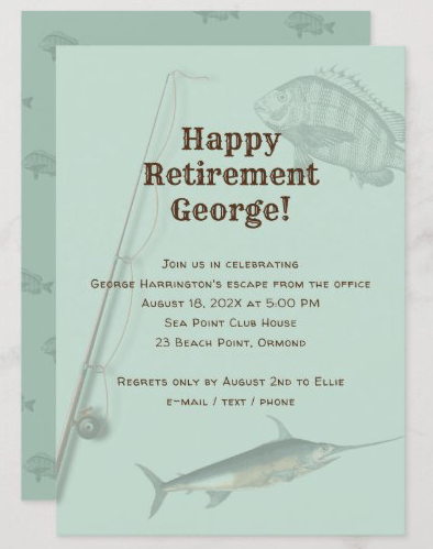 Fishing theme retirement party invitations rod n reel saltwater fish sage green
