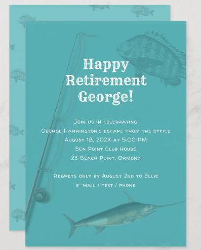 Fishing happy retirement party invitation template blue saltwater fisherman
