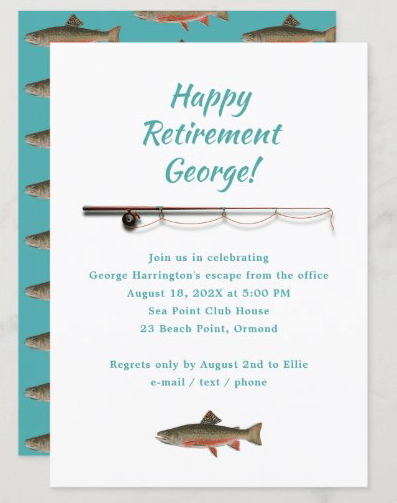 trout fishing retirement invitation template white with blue rod and reel fish pattern