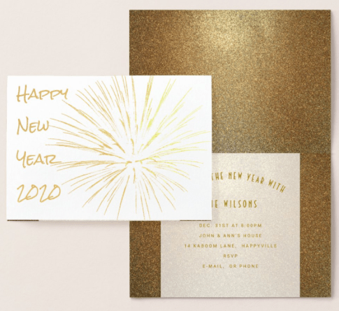 Fireworks gold foil New Year's Eve party invitation folded