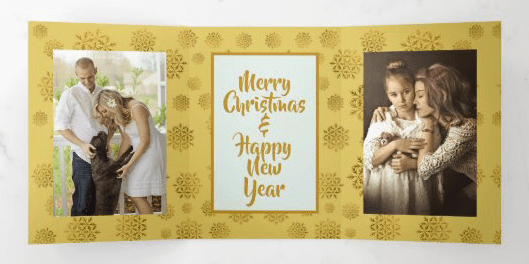 Extra large folded photo holiday card with gold snowflakes design two pictures greeting center tri-fold
