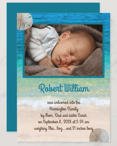 Beach scene photo birth announcement