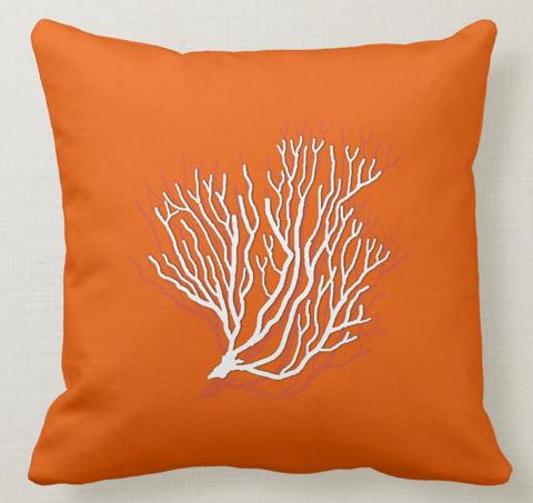 Sea coral bright orange throw pillow