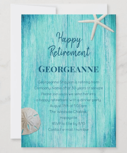 Happy retirement party invitation with blue wood and seashells unisex