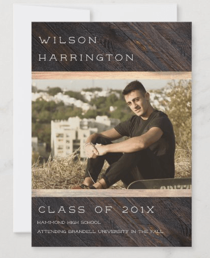 Photo graduation announcement only with class of, high school name and college plans.  Wood look with big photo template for guys.