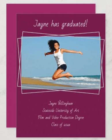 Girls graduation maroon photo announcement modern line frame handwritten font