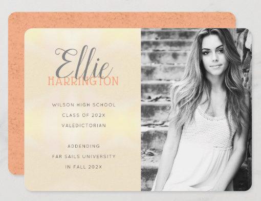Daughters graduation photo announcement cards peach orange