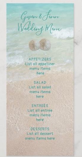 Beach wedding menu template tall cards