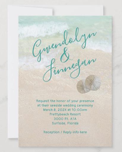 Sand dollar wedding invitations beach sand background