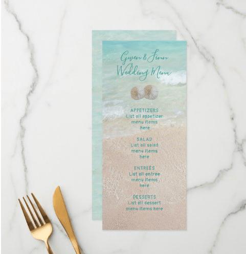 Tall beach wedding menu template
