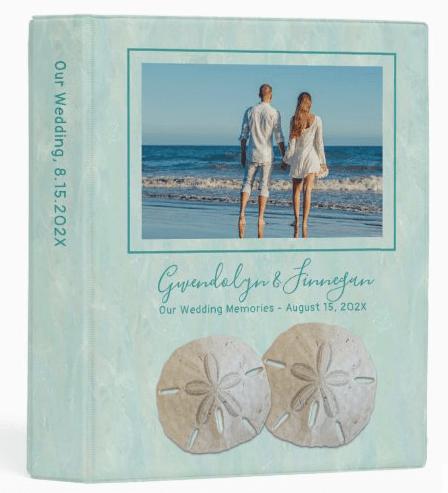 Mini wedding album binder sand dollars photo on front