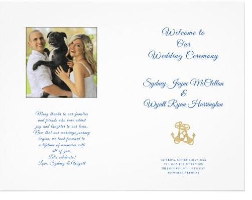 Folded nautical wedding program photo of couple