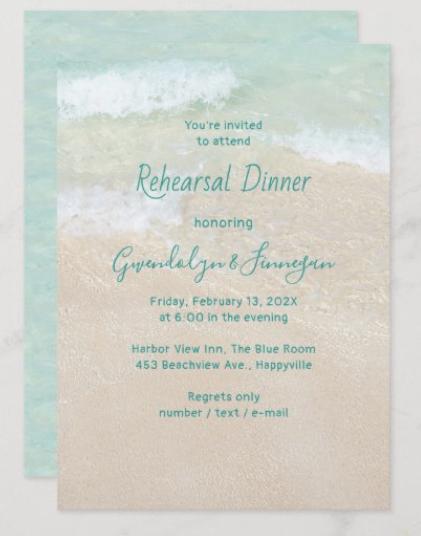 two sand dollars rehearsal dinner invitations