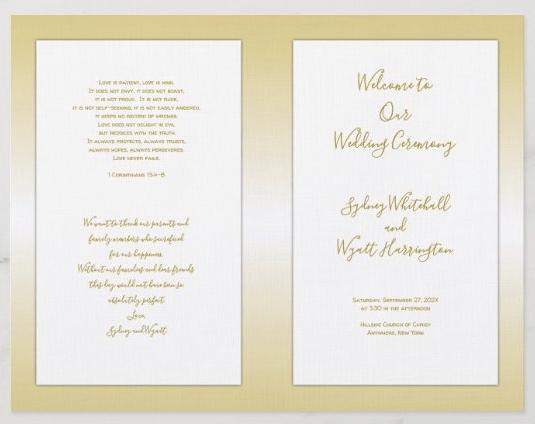 gold wedding program folded Catholic ceremony