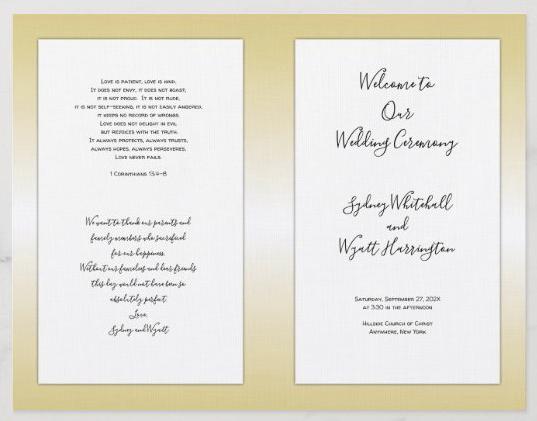 gold program Catholic wedding